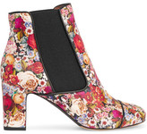 Tabitha Simmons Micki Floral-print Nubuck Ankle Boots - Red