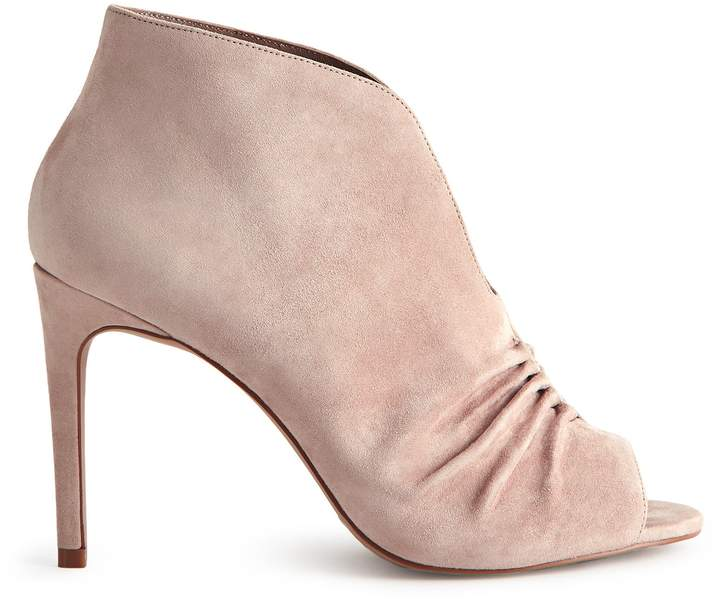 Reiss ELIZABETHA OPEN-TOE RUCHED ANKLE BOOTS Blush