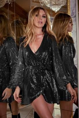 Lipsy Abbey Clancy x Sequin Wrap Mini Dress - 8 - Black