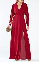 BCBGMAXAZRIA Doran Draped-Sleeve Gown
