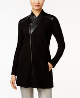 Alfani Faux-Leather-Trim Asymmetrical Sweater Coat, Only at Macy's