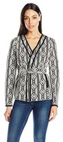 Nine West Women's Jacquard Tie Waist Jacket