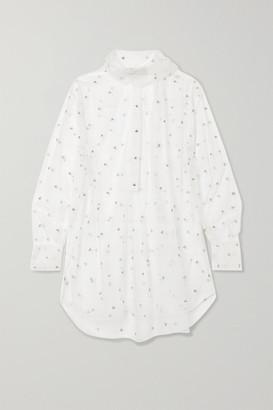Valentino Oversized Pussy-bow Crystal-embellished Tulle Shirt - White