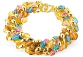 A-Z Collection Multicolor Bead Strands Gold Plated Necklace