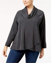Style&Co. Style & Co Plus Size Cowl-Neck Crossover Top, Created for Macy's