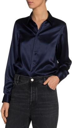 Balenciaga Silk Satin Button-Front Shirt