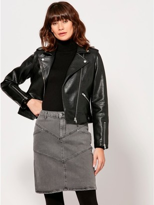 M&Co Croc faux leather biker jacket