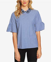 CeCe Ruffle-Sleeve Embroidered Blouse