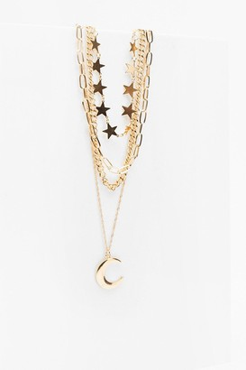 Nasty Gal Womens Ticket to the Moon Star Layered Necklace - Metallics - One Size