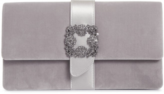 Manolo Blahnik Capri grey velvet clutch