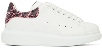 Alexander McQueen White and Pink Snake Oversized Sneakers