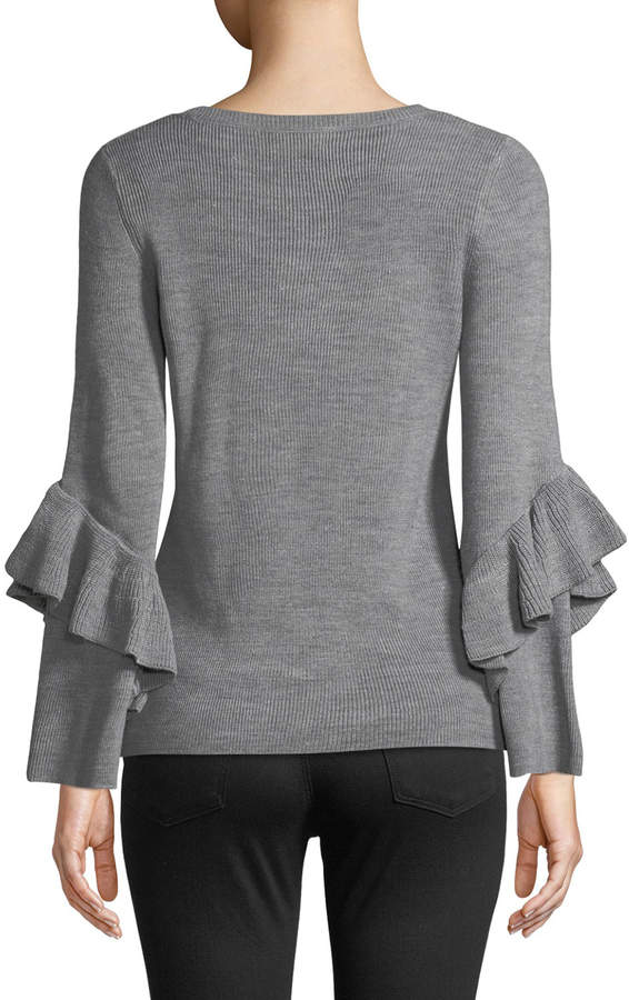 Ribbed Ruffle-Sleeve V-Neck Sweater