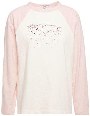 Ganni Crystal-embellished Two-tone Slub Jersey Top