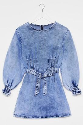 Nasty Gal Womens Jean Business Denim Puff Sleeve Dress - Blue - S, Blue