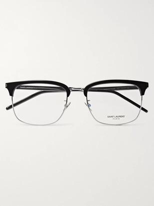 Saint Laurent Square-Frame Acetate and Silver-Tone Optical Glasses - Men - Black