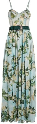 PatBO Belted Floral Bustier Maxi Dress