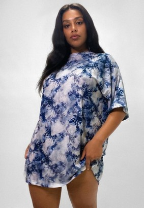 Missguided Size Blue Butterfly Tie Dye T Shirt Dress