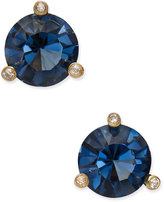 Kate Spade Gold-Tone Navy Blue and Clear Crystal Stud Earrings