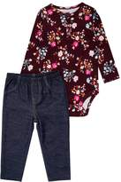 Carter's GIRL FLORAL PANT BABY SET Body denim