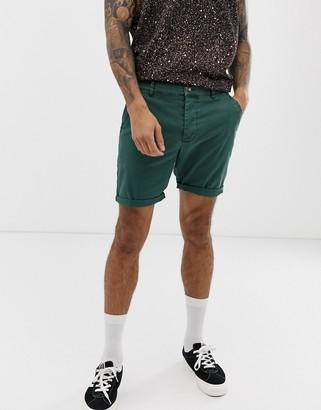 ASOS DESIGN slim chino shorts in washed green