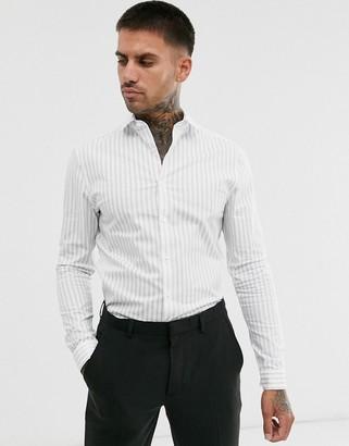 Asos Design DESIGN skinny fit stripe work shirt in white & navy