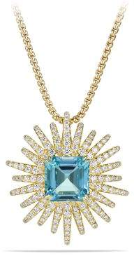 David Yurman Starburst Necklace With Aquamarine And Diamonds In 18K