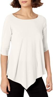 Star Vixen Women's Petite Elbow-Cinch Sleeve Hanky Hem Top