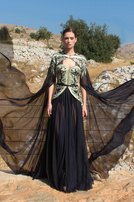 Edward Arsouni Embroidered Chiffon Gown