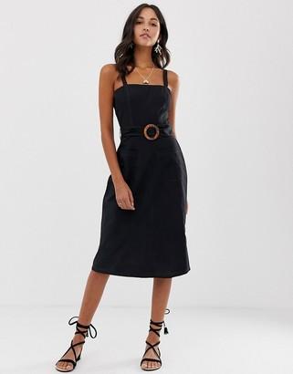 Asos Design DESIGN square neck linen midi sundress with wooden buckle & contrast stitch-Black