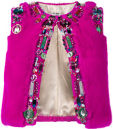 Miu Miu bead embellished cropped gilet - women - Rabbit Fur/Viscose/metal/glass - 40