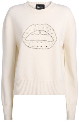 Markus Lupfer Crystal-Embellished Lip Sweater
