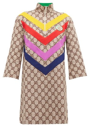 Gucci GG Supreme-jacquard Rainbow-applique Dress - Brown Multi