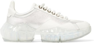 Jimmy Choo Diamond F Faceted-sole Leather Trainers - Womens - White Silver