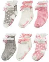 Elegant Baby Girls' Ruffled Sock Set, 6 Pack