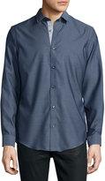Neiman Marcus Trim-Fit Regular-Finish Stripe-Print Sport Shirt, Navy