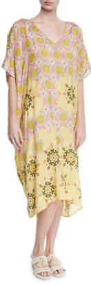Verandah Hand-Beaded Printed Coverup Kaftan Dress