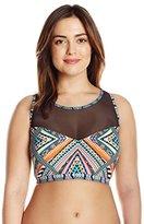 Jessica Simpson Women's Plus-Size Venice Beach High-Neck Bikini Top