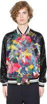 Valentino Tropical Print Satin Bomber Jacket