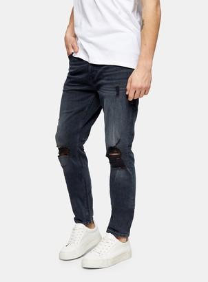 Topman Blue Black Ripped Stretch Skinny Jeans