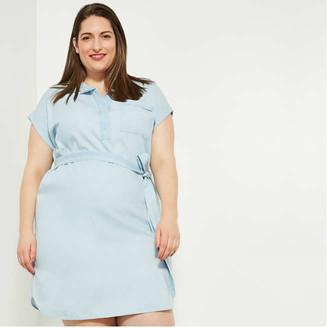 Joe Fresh Women+ Belted Dress, Light Blue (Size 1X)