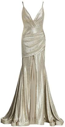 Jovani Metallic Front-Vent Trumpet Gown