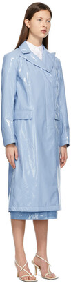 Sportmax Blue Patent Faux-Leather Trench Coat