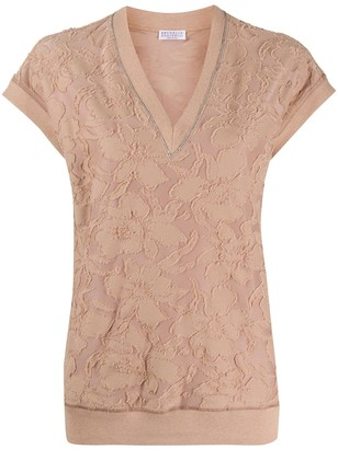 Brunello Cucinelli Textured Floral Top
