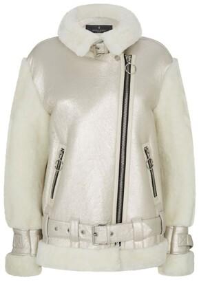 Nicole Benisti Gramercy Metallic Shearling Biker Jacket