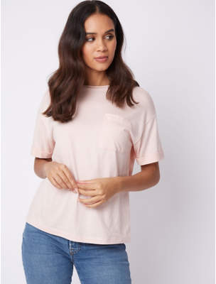 George Pale Pink Rolled Sleeve Pocket Crew Neck T-Shirt