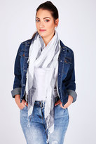 Yours Clothing White & Navy Wide Check Scarf With Metallic Thread