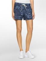 Calvin Klein Stippled Abstract Print Denim Shorts