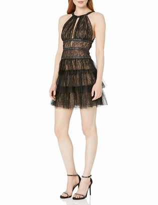 BCBGMAXAZRIA Azria Women's Hilaria Woven Tiered Dress with Grommet Details