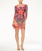 Sandra Darren Three-Quarter-Sleeve Medallion-Print Shift Dress