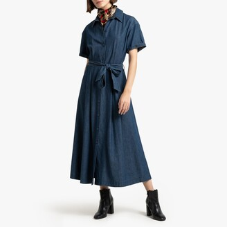 La Redoute Collections Denim Midi Shirt Dress with Tie-Waist